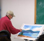 Dick Kane teaching a watercolor class