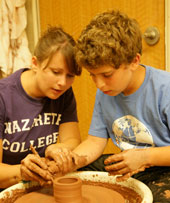 Jessica Furber and student in photo by Larry Merrill