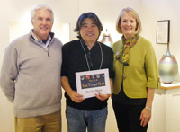 director Grant Holcomb, artist Hideaki Miyamura and Fine Craft Show co-chair Marcia Lowry