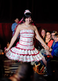 Extreme Materials 2 fashion show Dunkin' Donuts dress