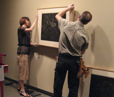 installing two prints by kiki smith