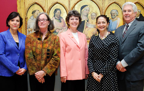 Mary Crowe, Nancy Norwood, Mary Sue Jack, Theresa Mazzullo and Grant Holcomb at the dedication of the Renaissance Gallery