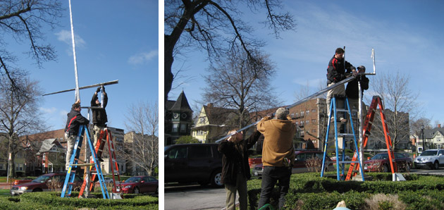 George Rickey kinetic sculpture being moved for safekeeping