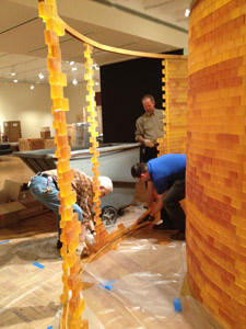 MAG staffers taking down Danielle Julian Norton's soap sculpture