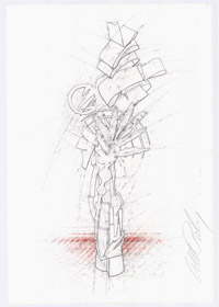 Albert Paley drawing for his sculpture Soliloquy