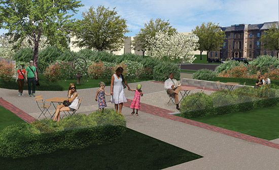 rendering of creative workshop entry plaza
