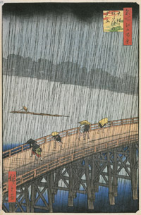 Hiroshige print of sudden shower