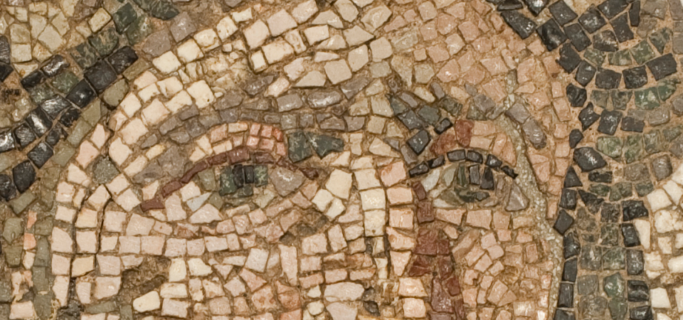 Detail of Mosaic Floor Panel with Head of Tethys, University of Rochester Appropriation for the C. Herbert Ocumpaugh Collection, 42.2.