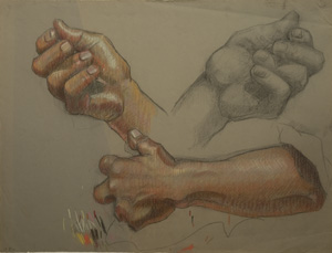 Carl Peters drawing of hands