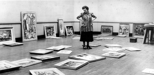 Isabel Herdle judging the Rochester-Finger Lakes Exhibition in the 1950s