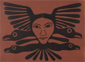 stonecut of raven by inuit artist