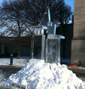 charlie hall ice sculpture at memorial art gallery