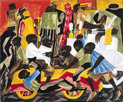 summer street scene in harlem by jacob lawrence