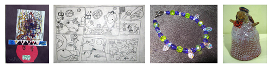 works by children at the Creative Workshop