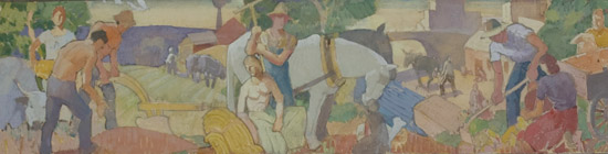 Carl Peters drawing for Fairport Historical Society mural