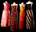 Dresses from Bertini's Condom Couture series