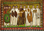 Depiction of Justinian I from a Byzantine mosaic, Church of San Vitale, Ravenna, Italy