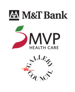 Logos of M&T Bank, MVP Healthcare and the Gallery Council