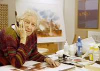 Democrat and Chronicle archives photo of artist Bing Thayer