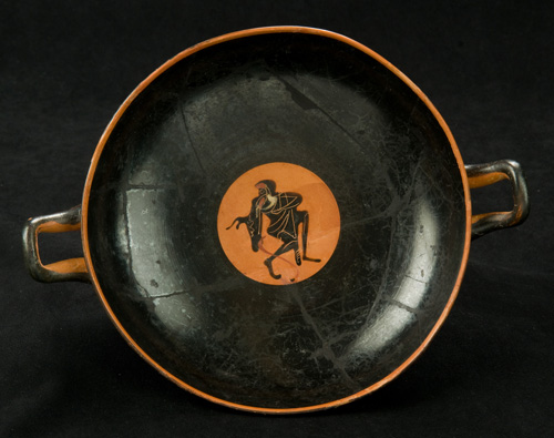 Black-Figure Kylix with Dionysian Revelers