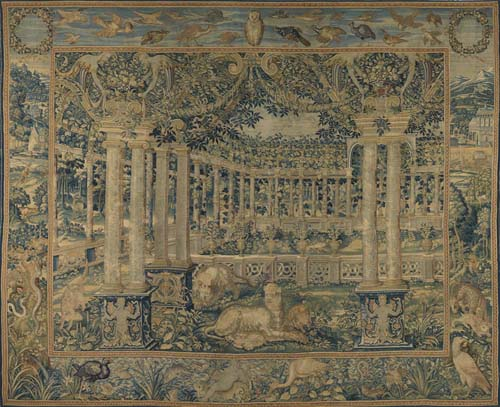 Tapestry with Trellised Garden with Animals