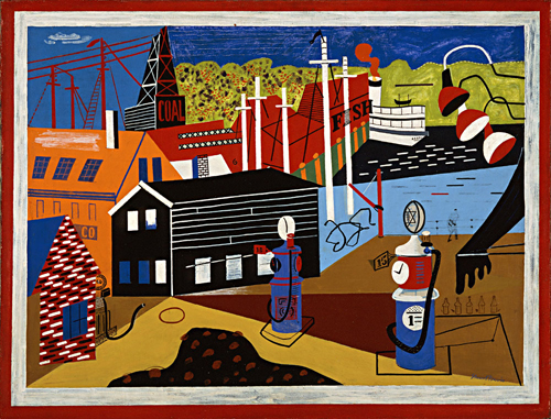 Landscape with Garage Lights by Stuart Davis