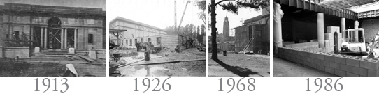 Memorial Art Gallery construction 1913, 1926, 1968, 1987