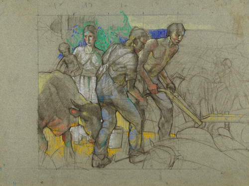 Compositional Study of Figures for a Mural