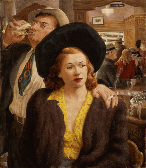 painting of people in a bar in the 1940s