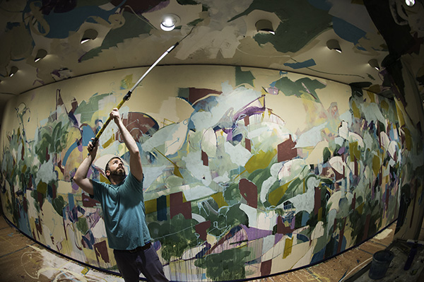 Nate Hodge creating a mural at the Memorial Art Gallery, May 2016