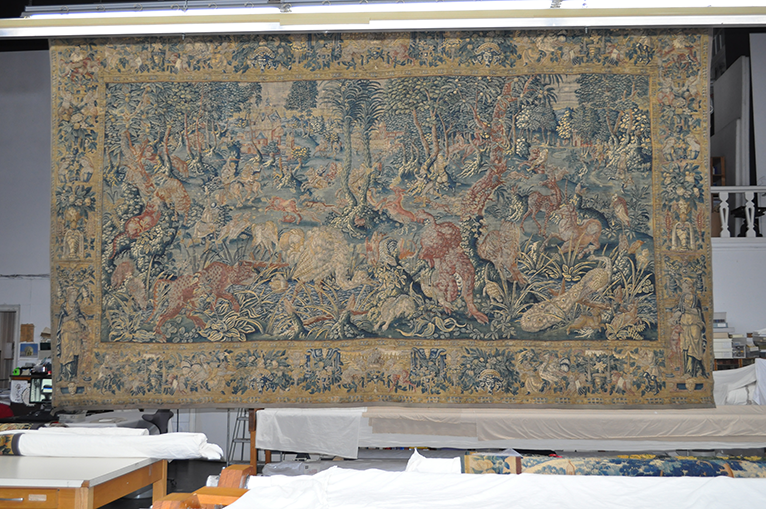 Battle of the Animals tapestry at Conservation Laboratory