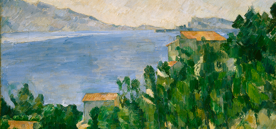 Detail of View of Mt. Marseilleveyre and the Isle of Maire (L'Estaque) by Paul Cézanne, Anonymous gift in tribute to Edward Harris and in memory of H. R. Stirlin of Switzerland, 69.45