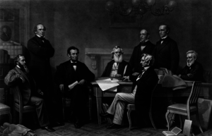 engraving depicting Abraham Lincoln and his Cabinet