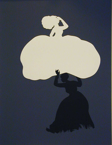 Black female silhouette carrying white female silhouette