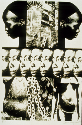lithograph depicting African women's bodies and artifacts associated with slavery