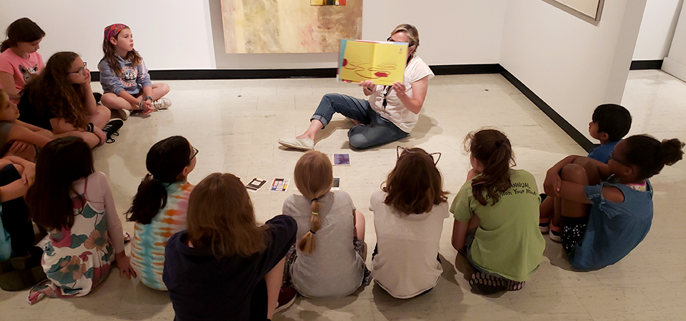 reading books in the museum space